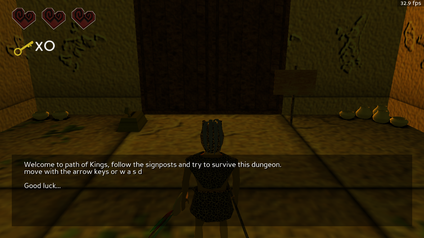 Screenshot of the first room of the game
