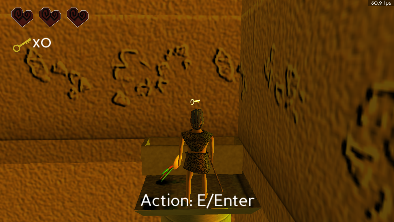 Screenshot of finding a key in the game